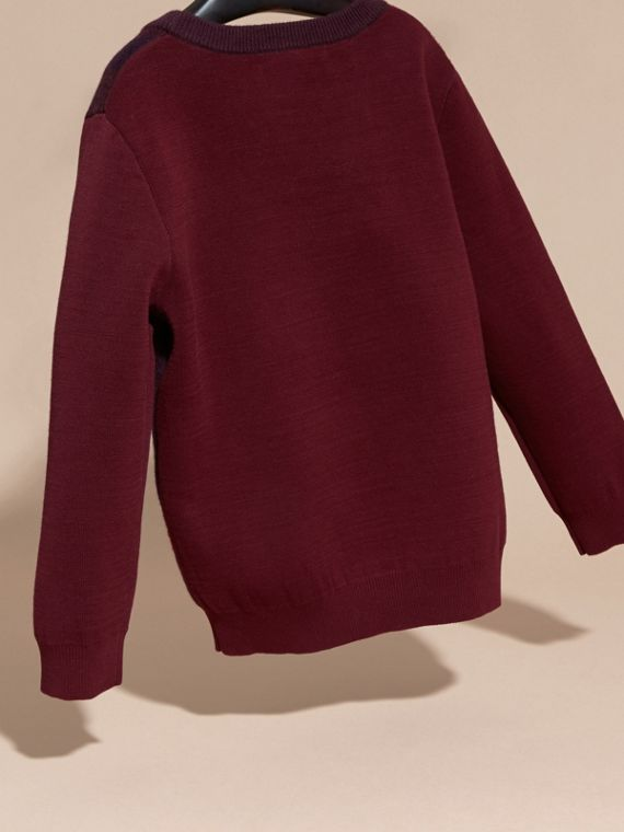 Deep claret Check Wool Cashmere Blend Sweater Deep Claret - cell image 3