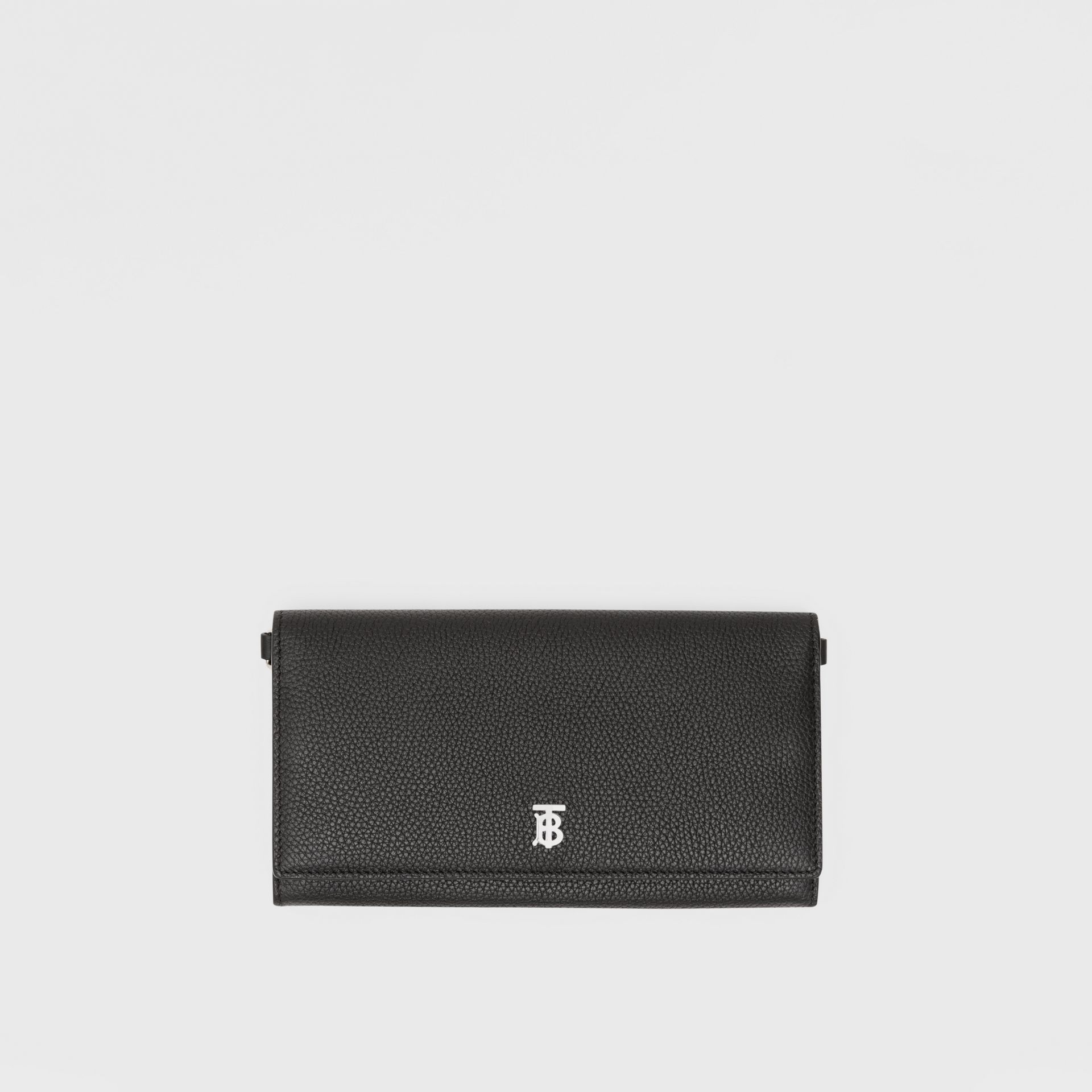 Grainy Leather Wallet with Detachable Strap in Black | Burberry - gallery image 11