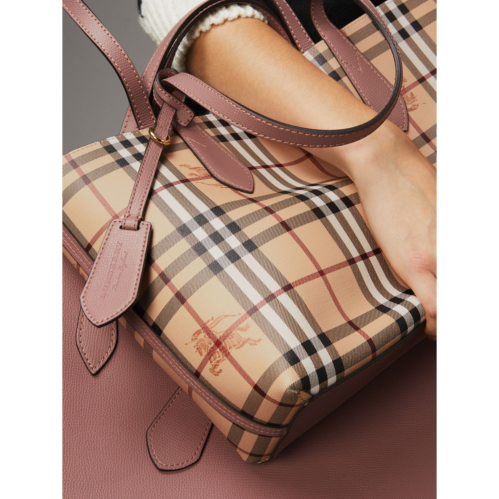 The Small Reversible Tote in Haymarket Check and Leather in Light Elderberry - Women | Burberry United States - gallery image 4