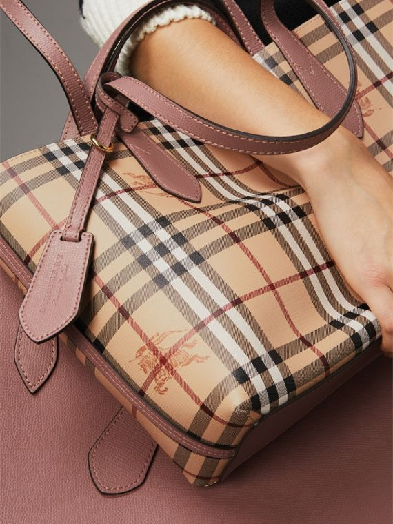 The Small Reversible Tote in Haymarket Check and Leather in Light Elderberry - Women | Burberry United Kingdom - cell image 3