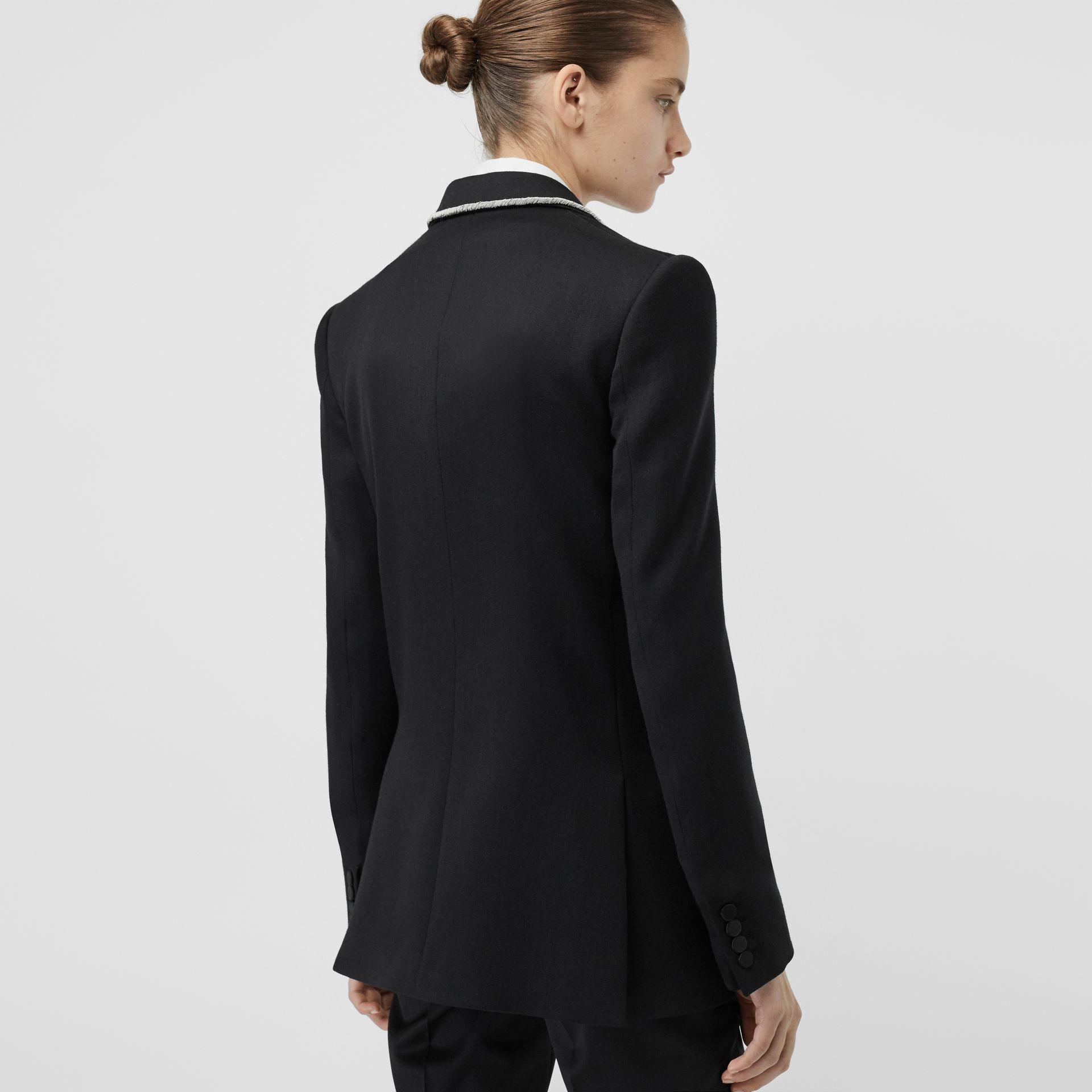 Bullion Stretch Wool Double-breasted Jacket in Black - Women | Burberry - gallery image 2