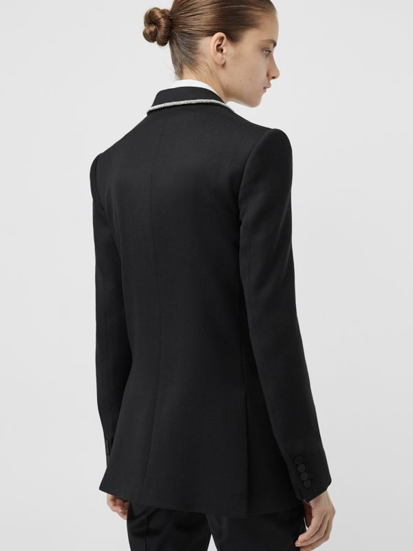 Bullion Stretch Wool Double-breasted Jacket in Black - Women | Burberry United States - cell image 2