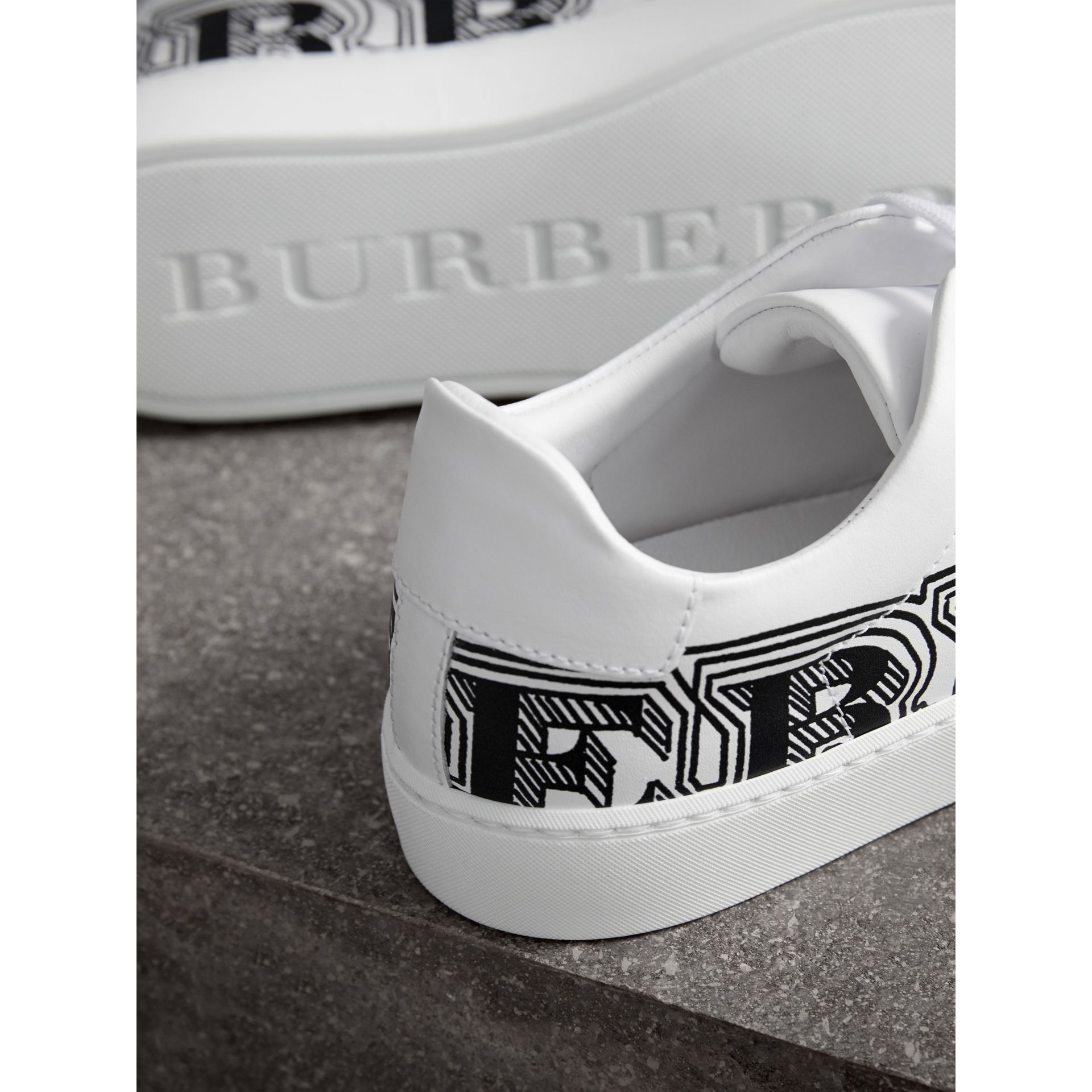 Doodle Print Leather Sneakers in Optic White - Women | Burberry - gallery image 1