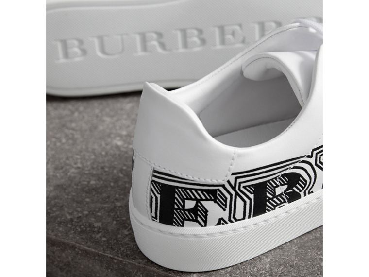 Doodle Print Leather Sneakers in Optic White - Women | Burberry - cell image 1