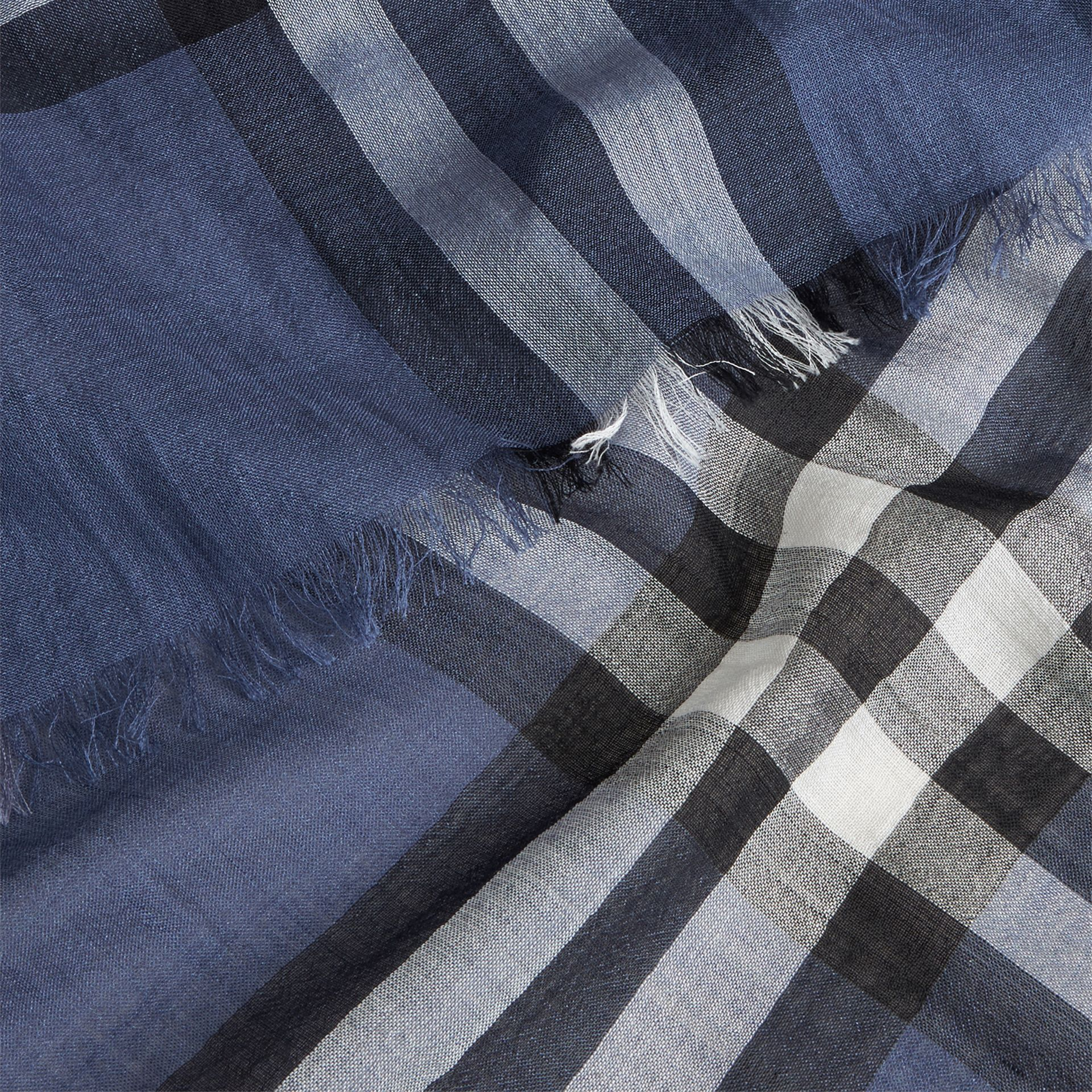 Thistle blue Lightweight Check Wool and Silk Scarf Thistle Blue - gallery image 2