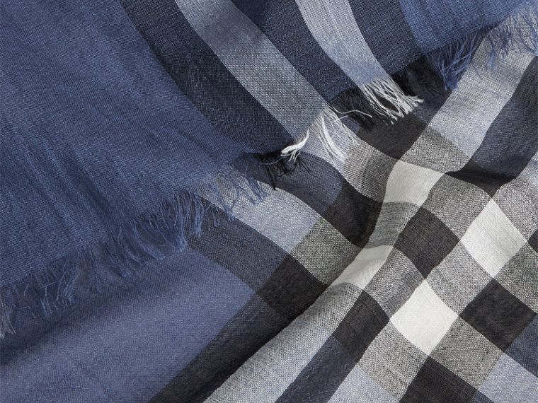Thistle blue Lightweight Check Wool and Silk Scarf Thistle Blue - cell image 1