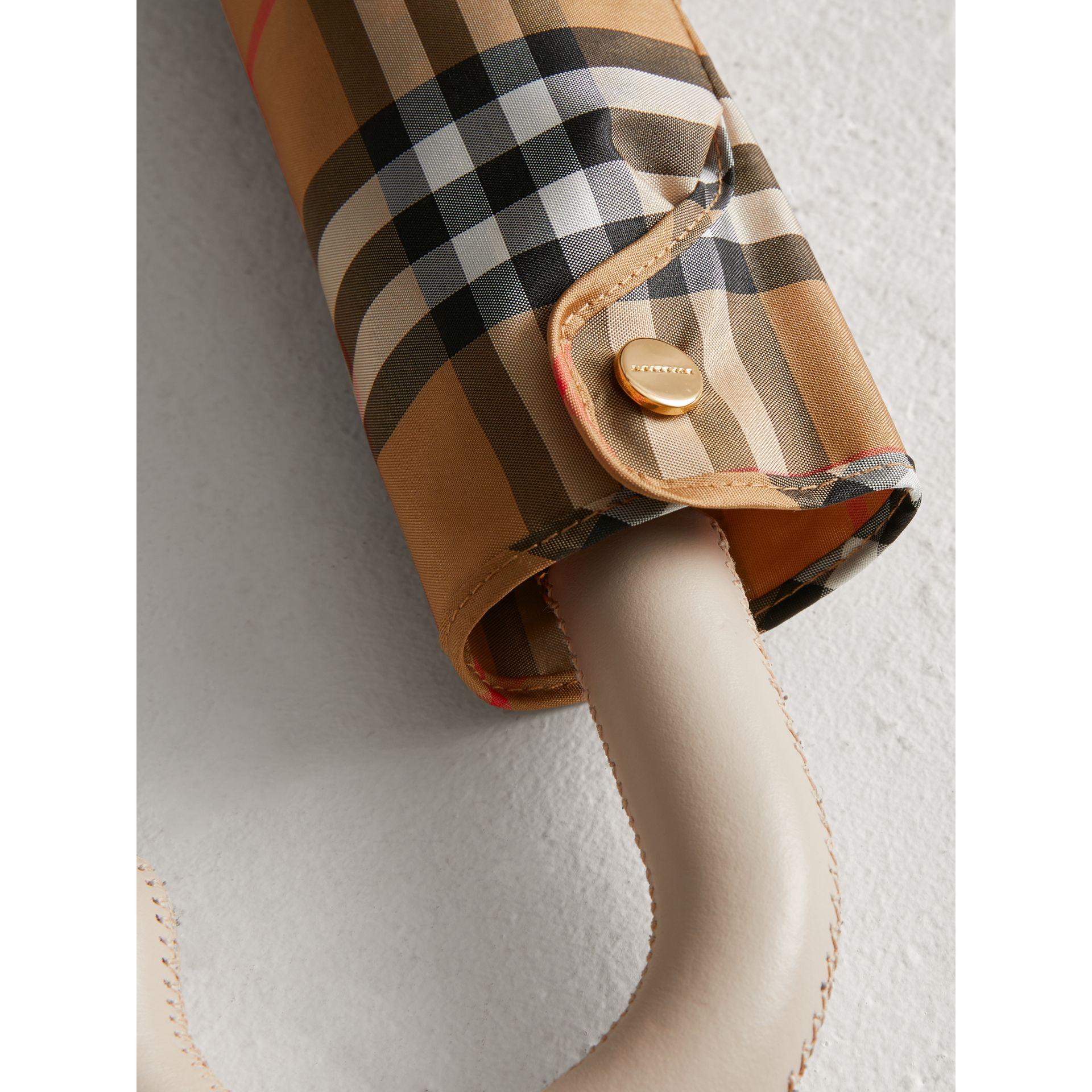 Vintage Check Folding Umbrella in Antique Yellow/limestone | Burberry - gallery image 1