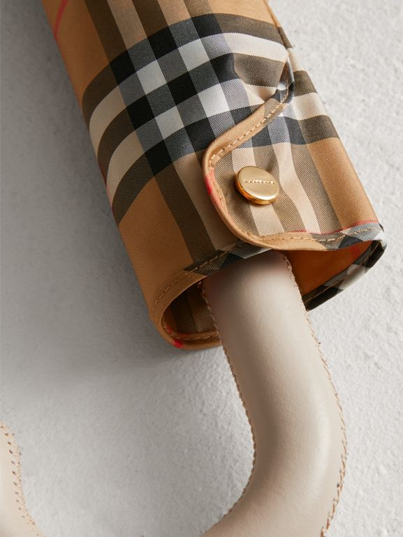 Vintage Check Folding Umbrella in Antique Yellow/limestone | Burberry - cell image 1