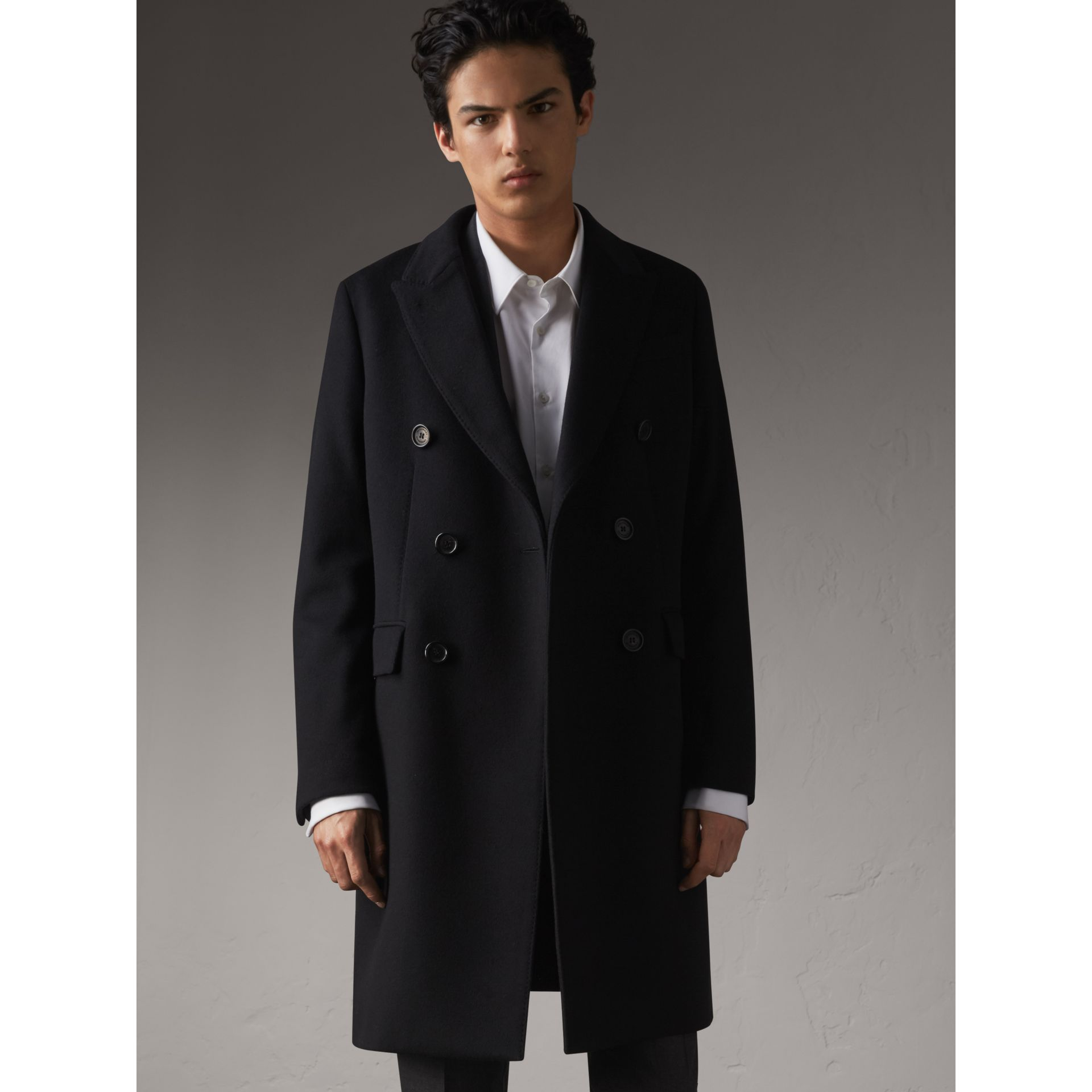 Double-breasted Wool Cashmere Tailored Coat in Black - Men | Burberry Hong Kong - gallery image 5