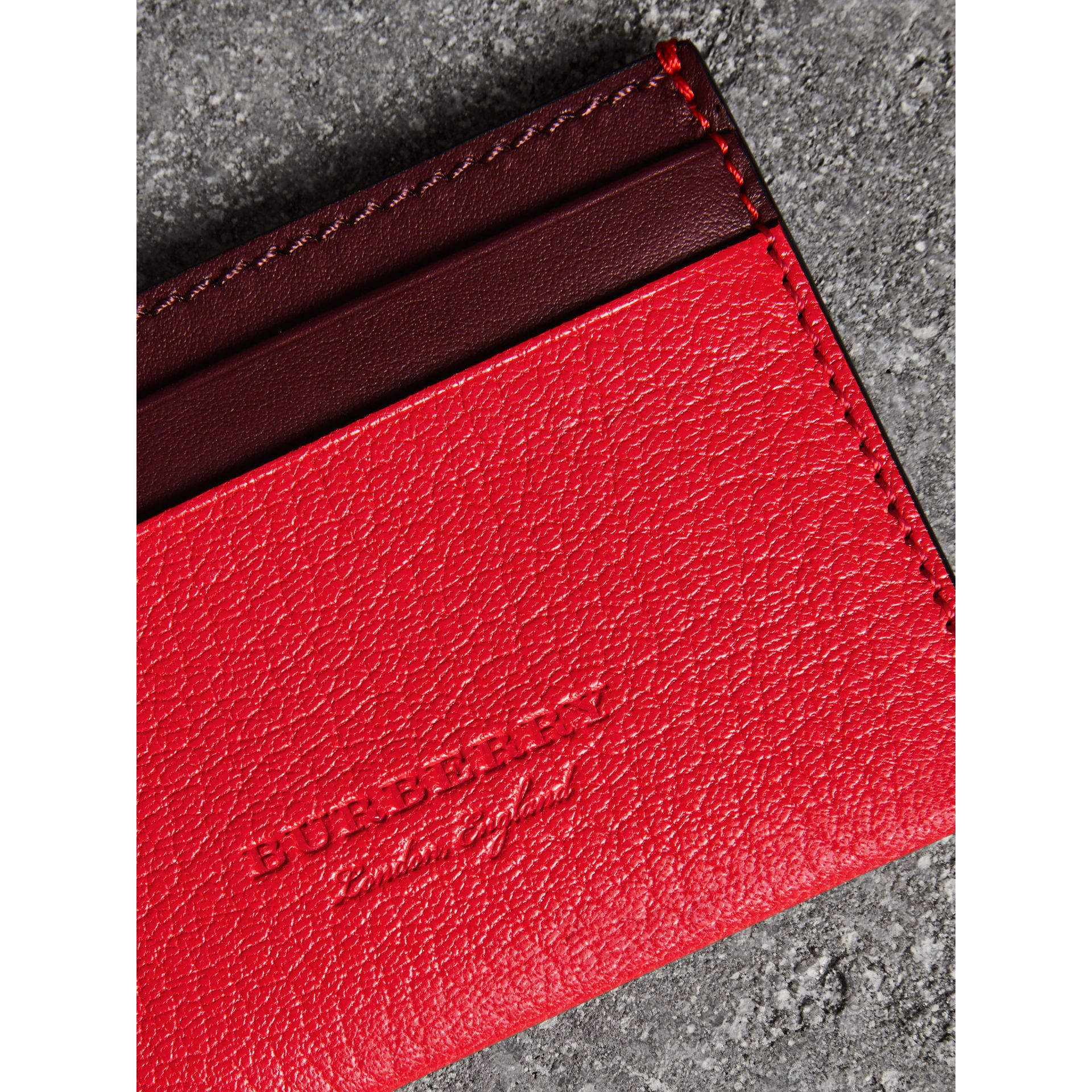 Two-tone Leather Card Case in Bright Red - Women | Burberry - gallery image 1