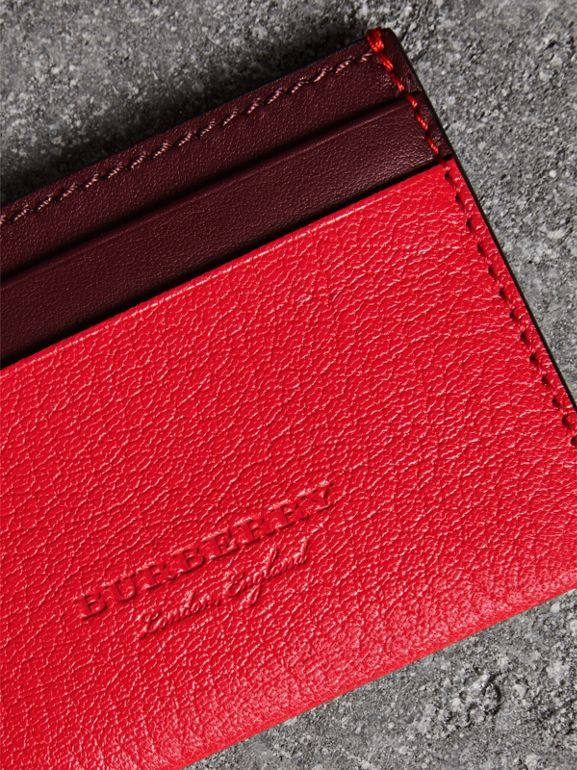 Two-tone Leather Card Case in Bright Red - Women | Burberry - cell image 1