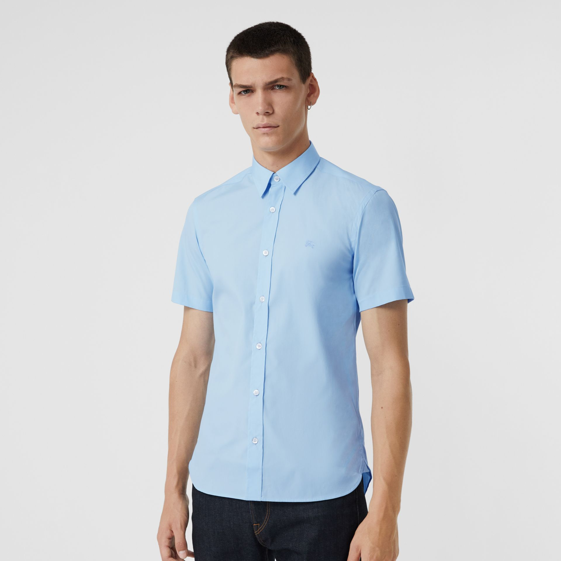 Short-sleeve Stretch Cotton Shirt in Pale Blue - Men | Burberry United Kingdom - gallery image 4