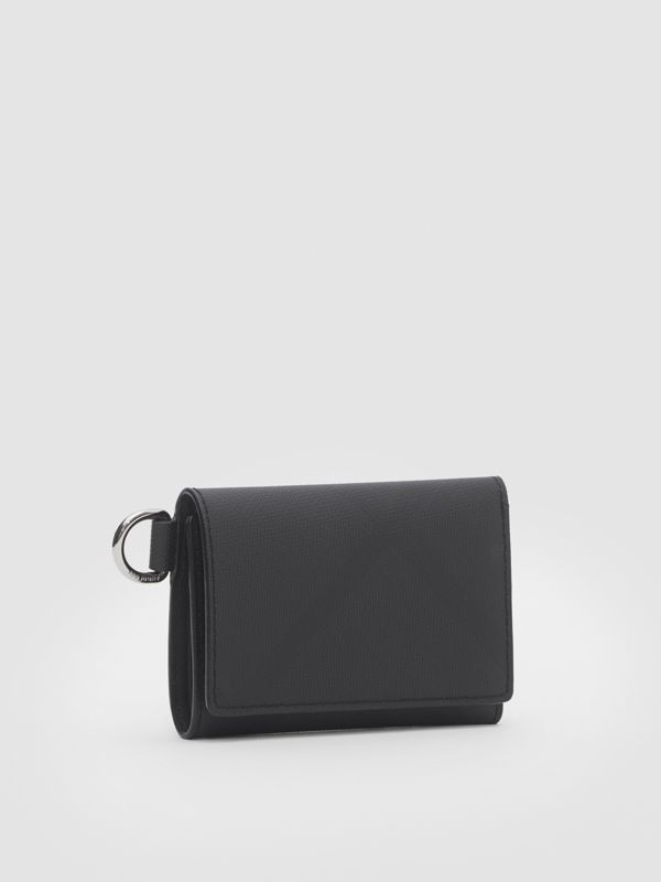Small London Check Folding Wallet in Dark Charcoal - Men | Burberry United Kingdom - cell image 3