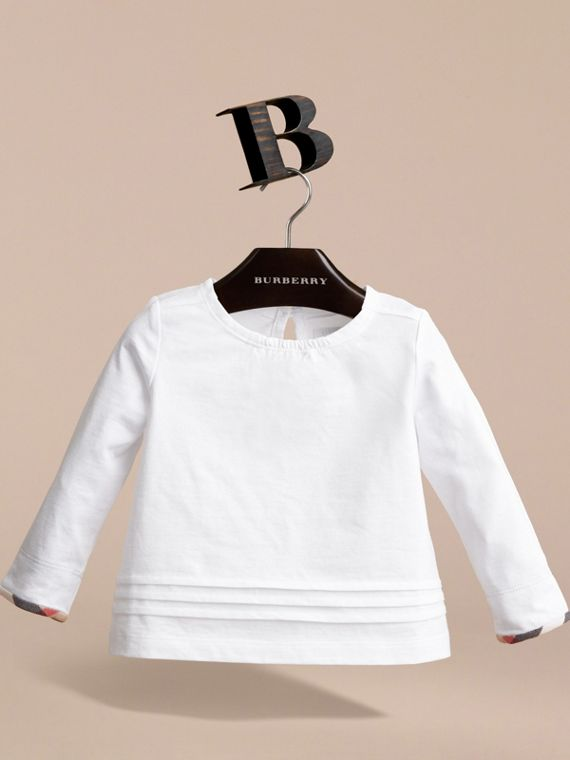 Pleat and Check Detail Cotton Top in White | Burberry - cell image 2