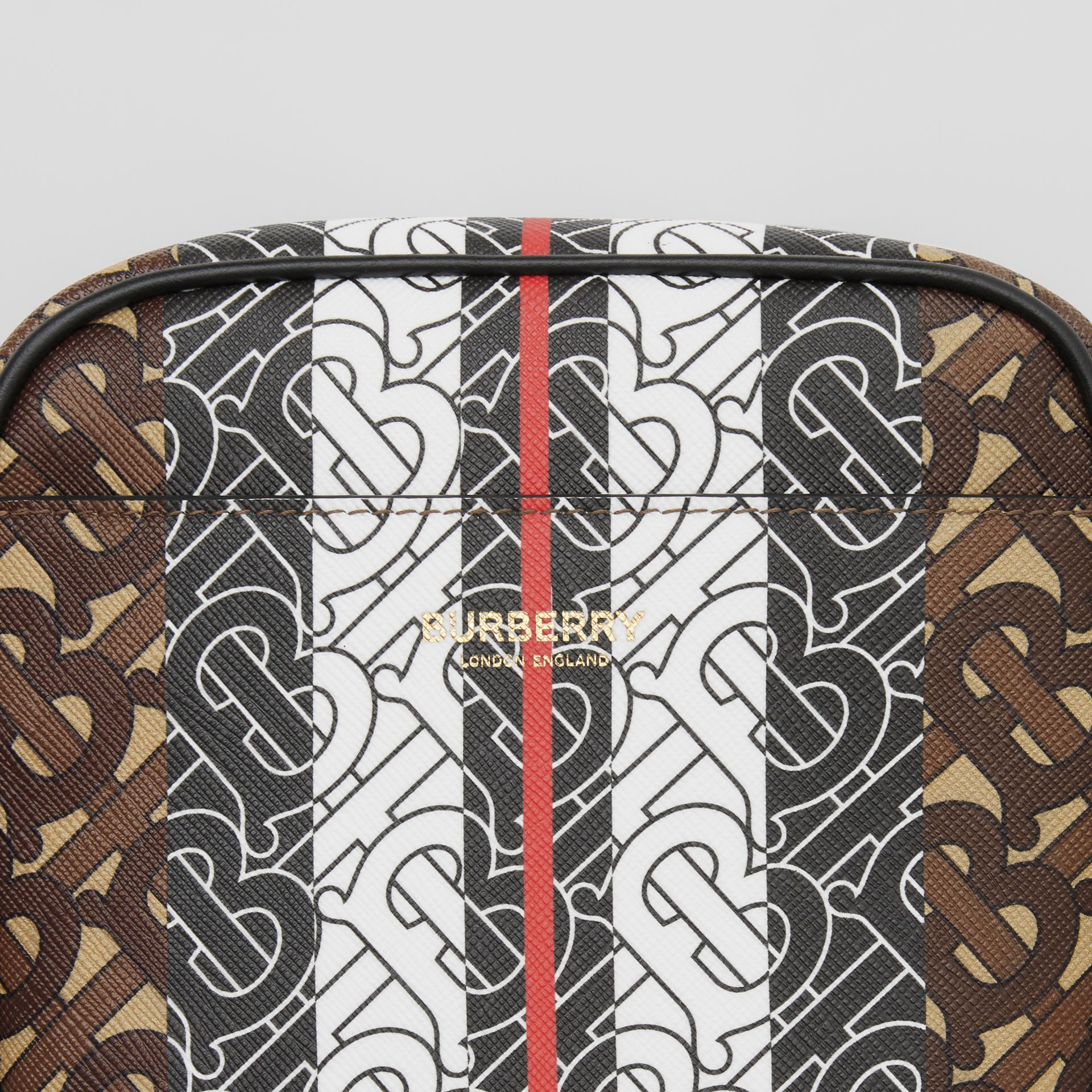 Monogram Stripe Print E-canvas Crossbody Bag in Bridle Brown - Men | Burberry United Kingdom - gallery image 1