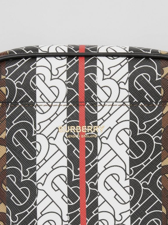Monogram Stripe Print E-canvas Crossbody Bag in Bridle Brown - Men | Burberry United Kingdom - cell image 1