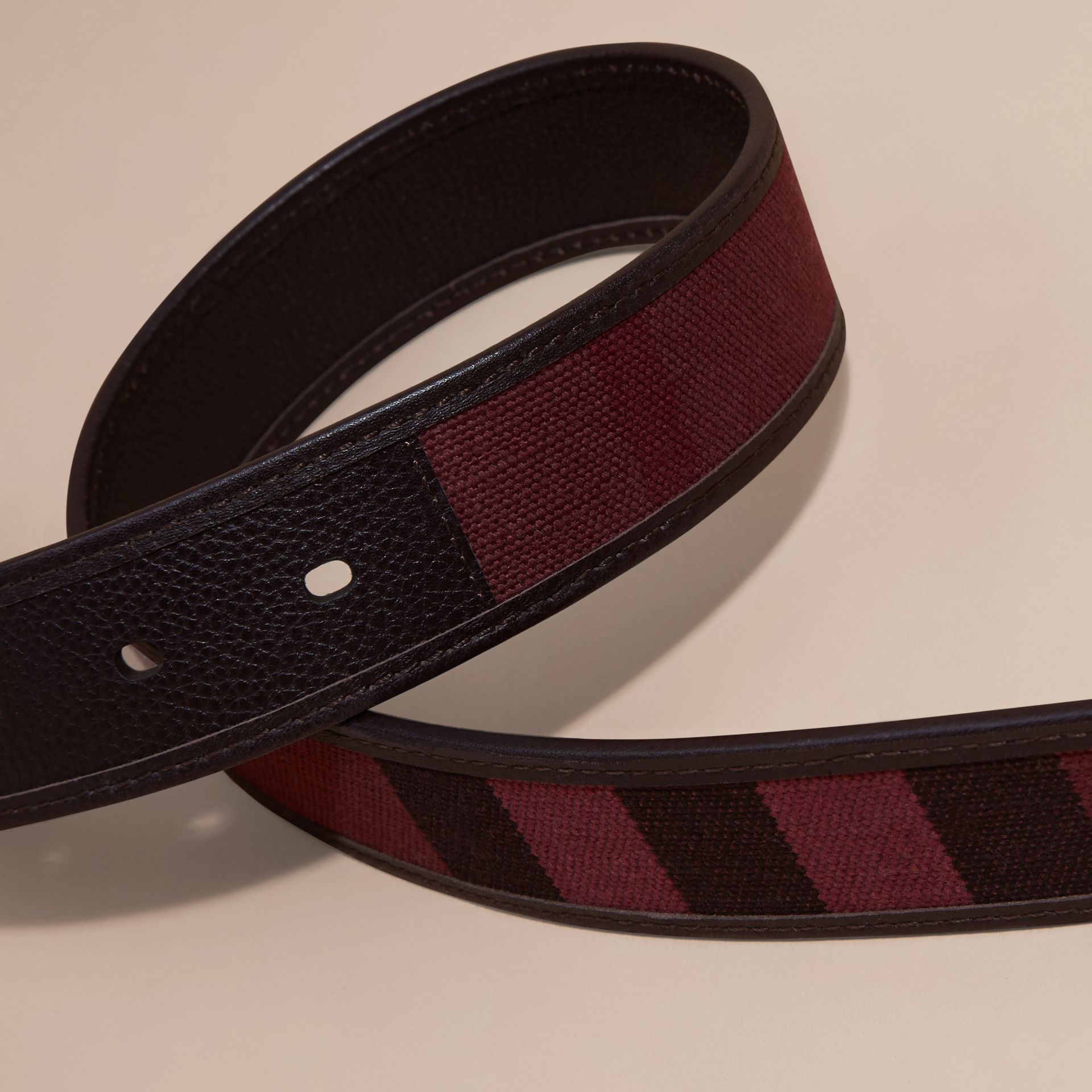 Claret Canvas Check and Leather Belt - gallery image 2