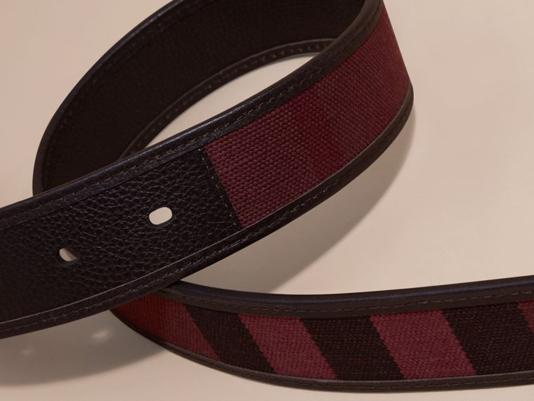 Claret Canvas Check and Leather Belt - cell image 1