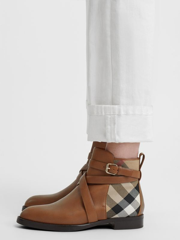 Strap Detail House Check and Leather Ankle Boots in Bright Camel - Women | Burberry - cell image 2