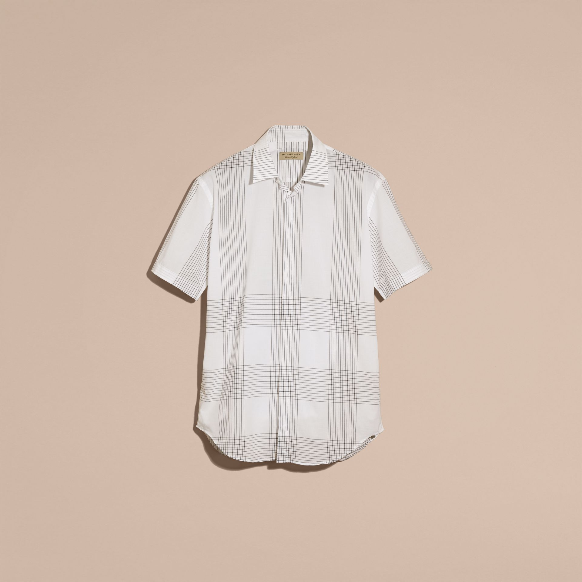 White Short-sleeved Check Cotton Shirt White - gallery image 4