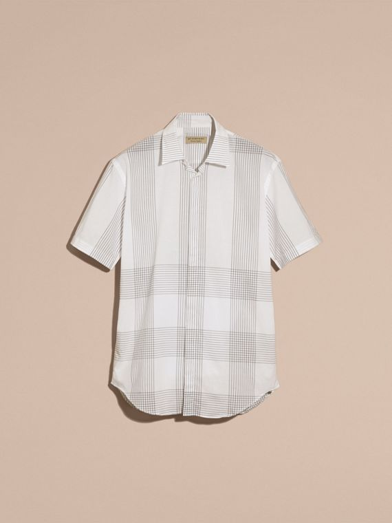White Short-sleeved Check Cotton Shirt White - cell image 3