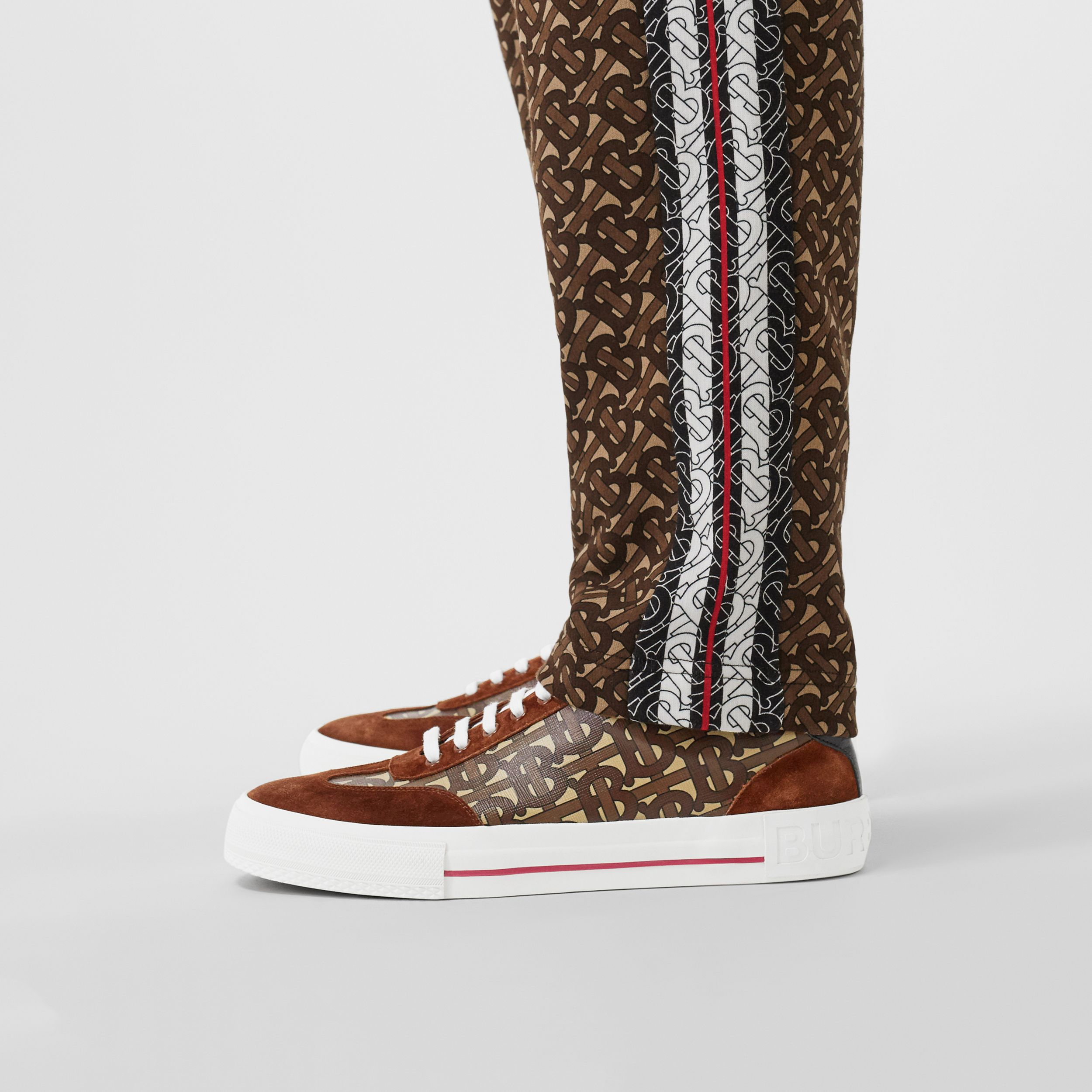 Suede Detail Monogram Stripe Sneakers in Bridle Brown - Men | Burberry - 3