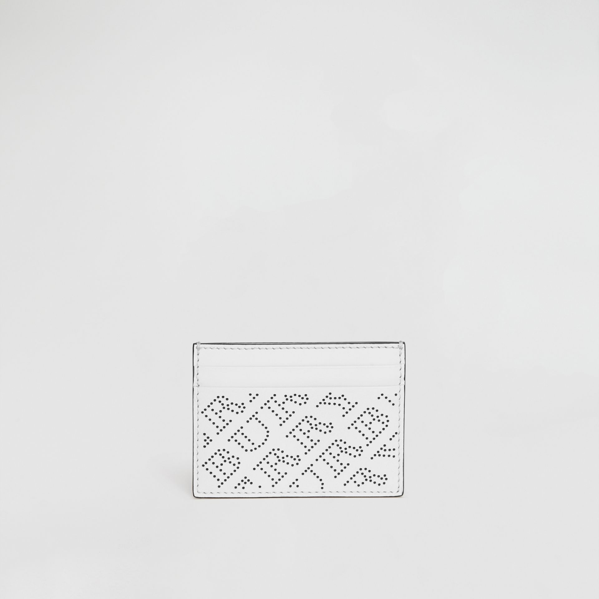 Perforated Logo Leather Card Case in White - Women | Burberry United States - gallery image 2