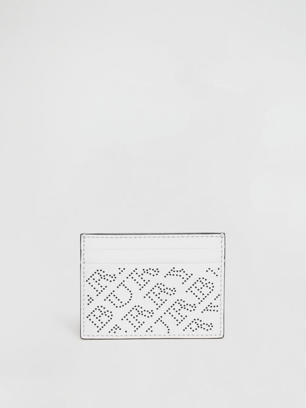 Perforated Logo Leather Card Case in White - Women | Burberry - cell image 2