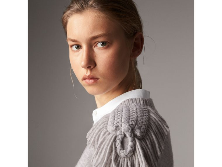 Military Braid Detail Wool Cashmere Sweater in Pale Grey Melange - Women | Burberry - cell image 1