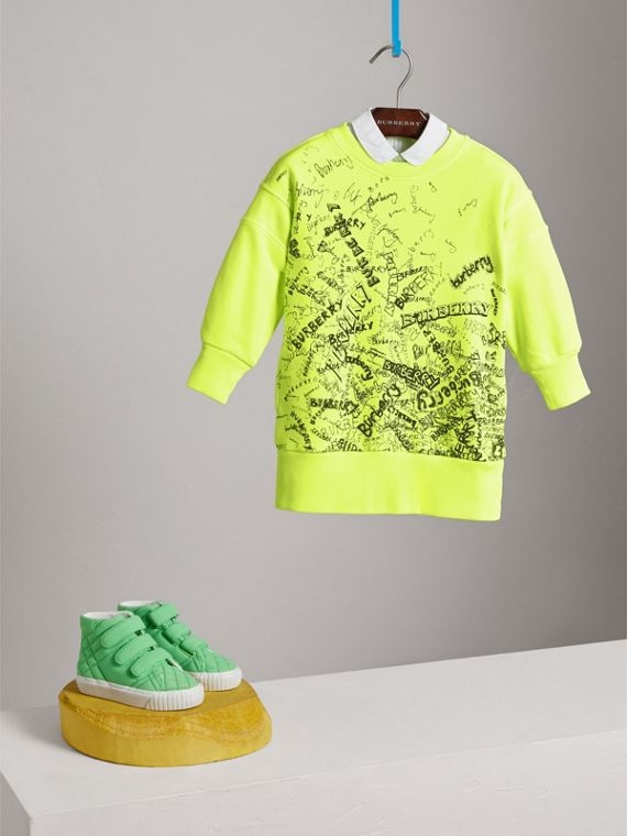 Doodle Print Cotton Jersey Sweater Dress in Bright Lemon - Girl | Burberry - cell image 2