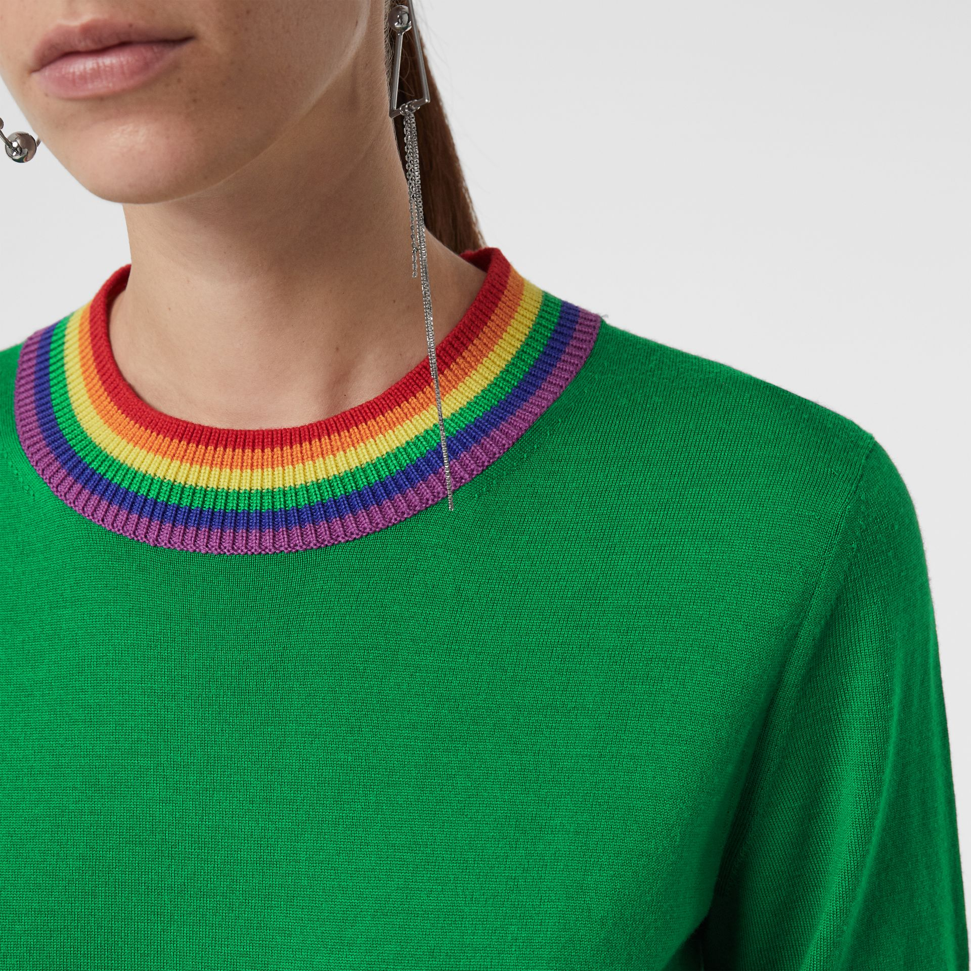 Stripe Detail Wool Sweater in Bright Green - Women | Burberry - gallery image 1
