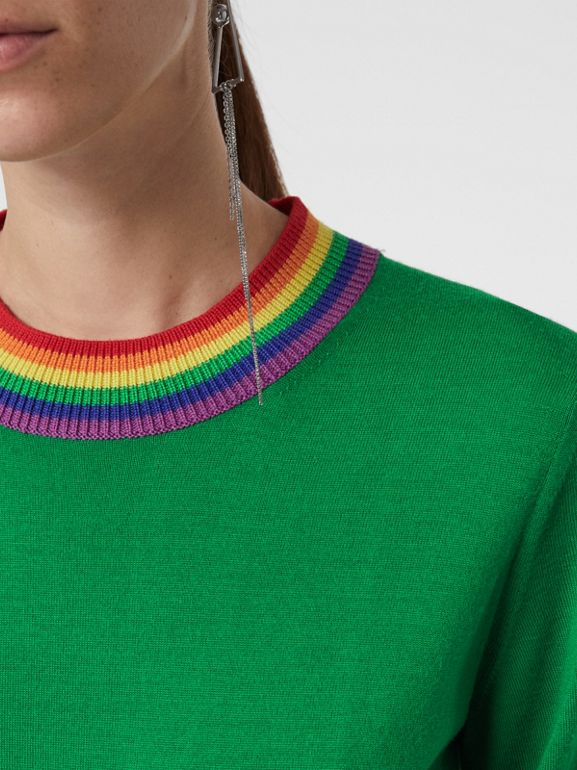 Stripe Detail Wool Sweater in Bright Green - Women | Burberry Canada - cell image 1
