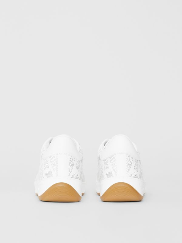 Metallic Logo Print Leather Sneakers in Optic White/silver - Women | Burberry United Kingdom - cell image 3