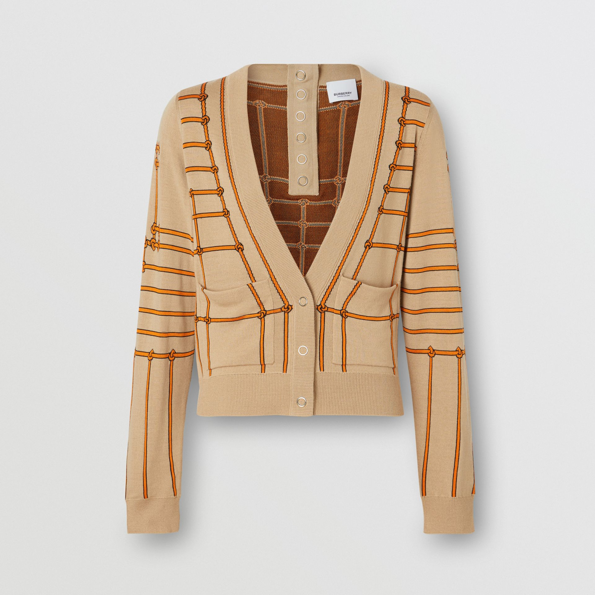 Rope Silk Wool Jacquard V-neck Cardigan in Honey - Women | Burberry Hong Kong - gallery image 3