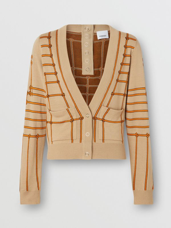 Rope Silk Wool Jacquard V-neck Cardigan in Honey - Women | Burberry - cell image 3