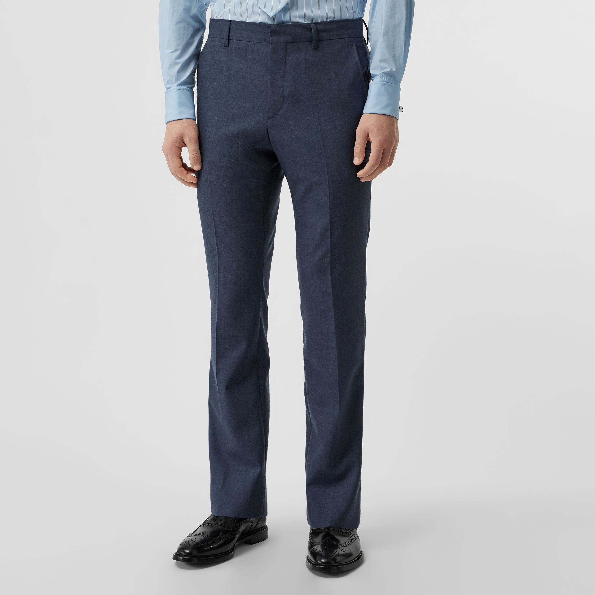 Classic Fit Wool Mohair Tailored Trousers in Steel Blue Melange - Men | Burberry Canada - gallery image 3