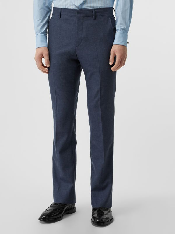 Classic Fit Wool Mohair Tailored Trousers in Steel Blue Melange - Men | Burberry United States - cell image 3