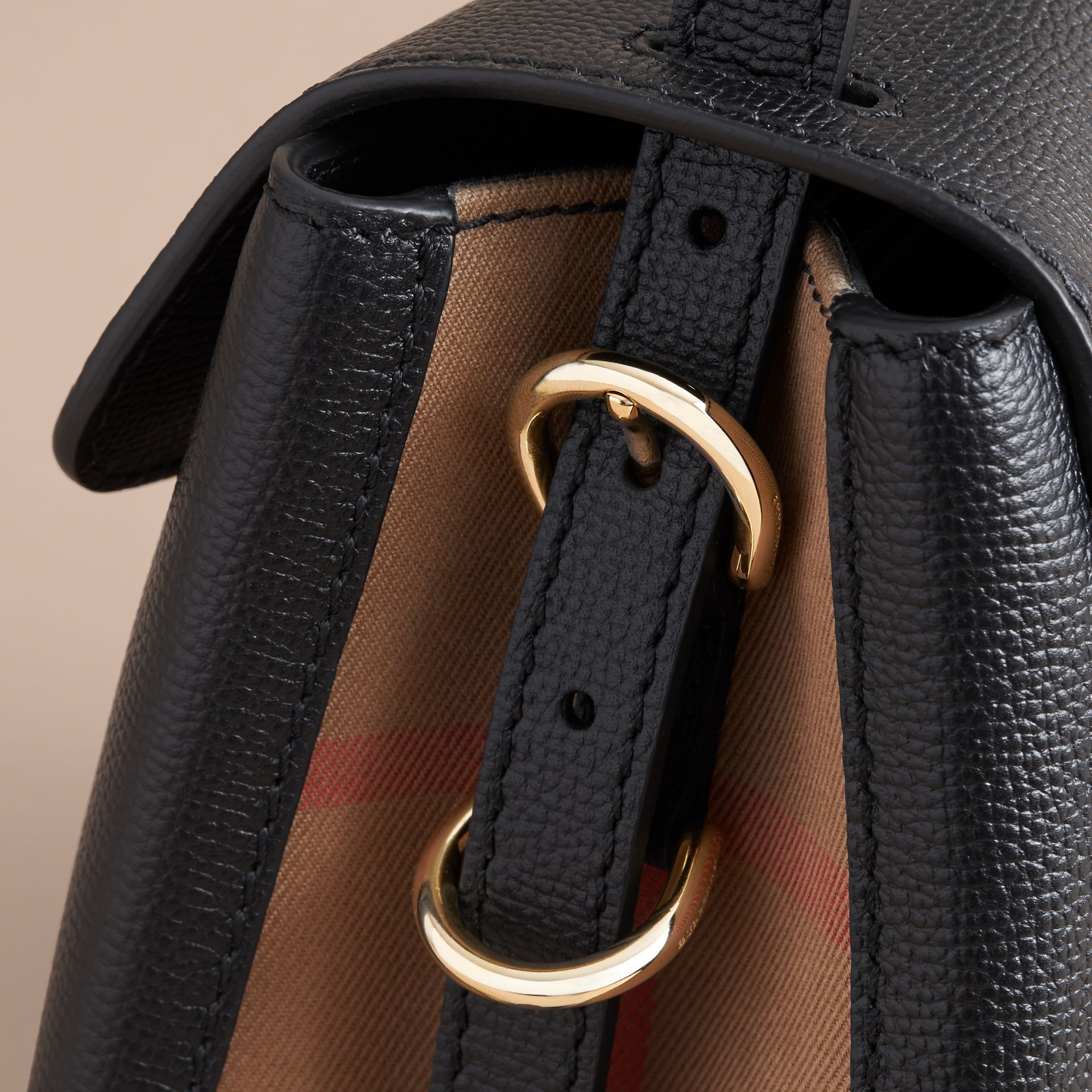 Small Grainy Leather and House Check Tote Bag Black - gallery image 7