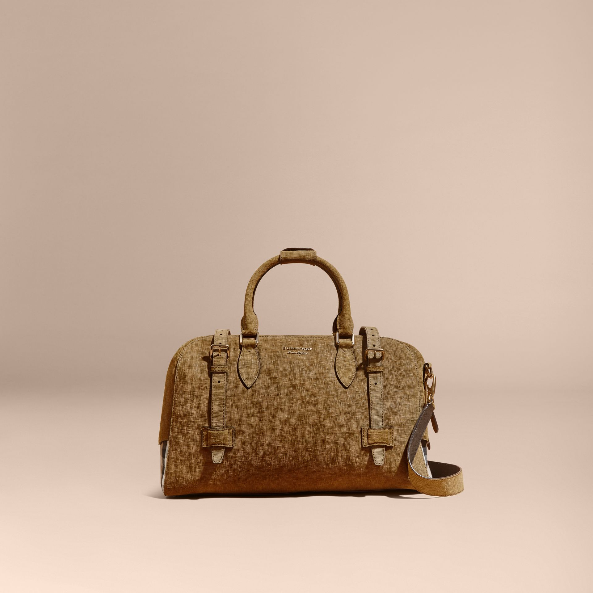 Textured Suede and House Check Detail Holdall - gallery image 9