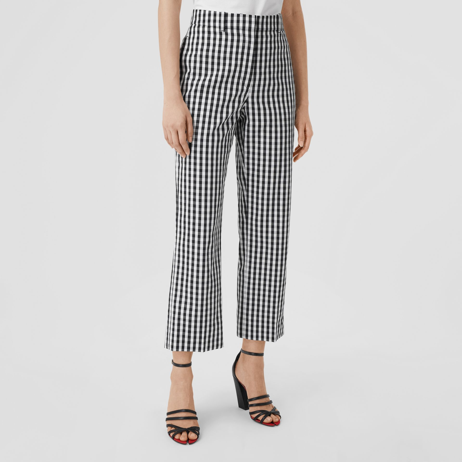 Gingham Technical Wool Cropped Trousers in Black - Women | Burberry - gallery image 5