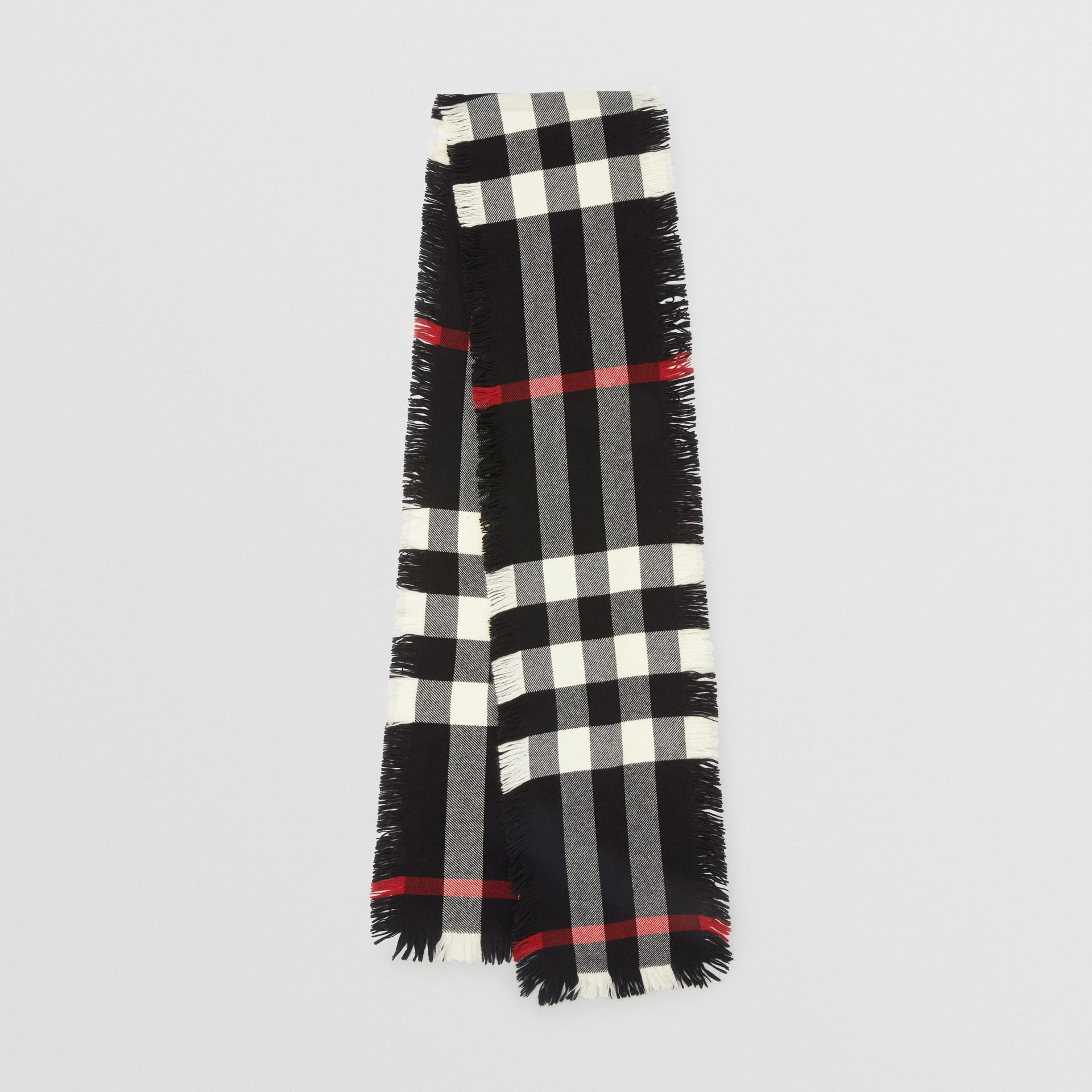 Fringed Check Wool Scarf in Black | Burberry United Kingdom - gallery image 0