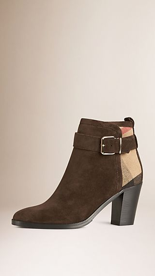 Canvas Check and Suede Ankle Boots