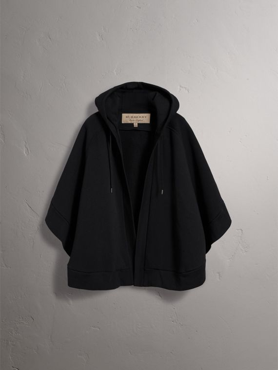 Embroidered Jersey Hooded Cape in Black | Burberry Australia - cell image 3
