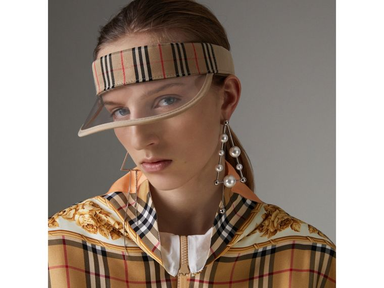 Vintage Check and Archive Scarf Print Jumpsuit in Antique Yellow - Women | Burberry Hong Kong - cell image 1