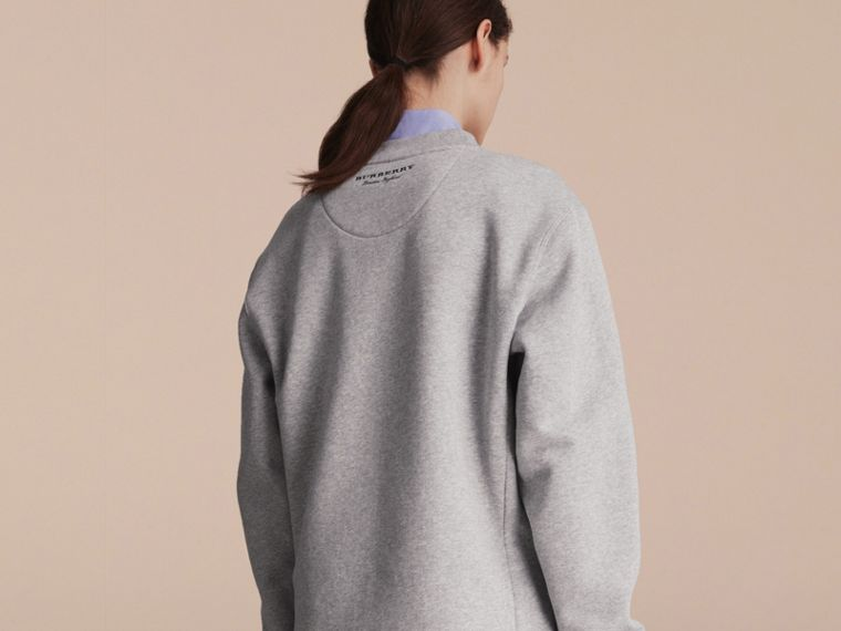 Unisex Striped Silk Cotton Panel Sweatshirt in Grey Melange - Women | Burberry Canada - cell image 4