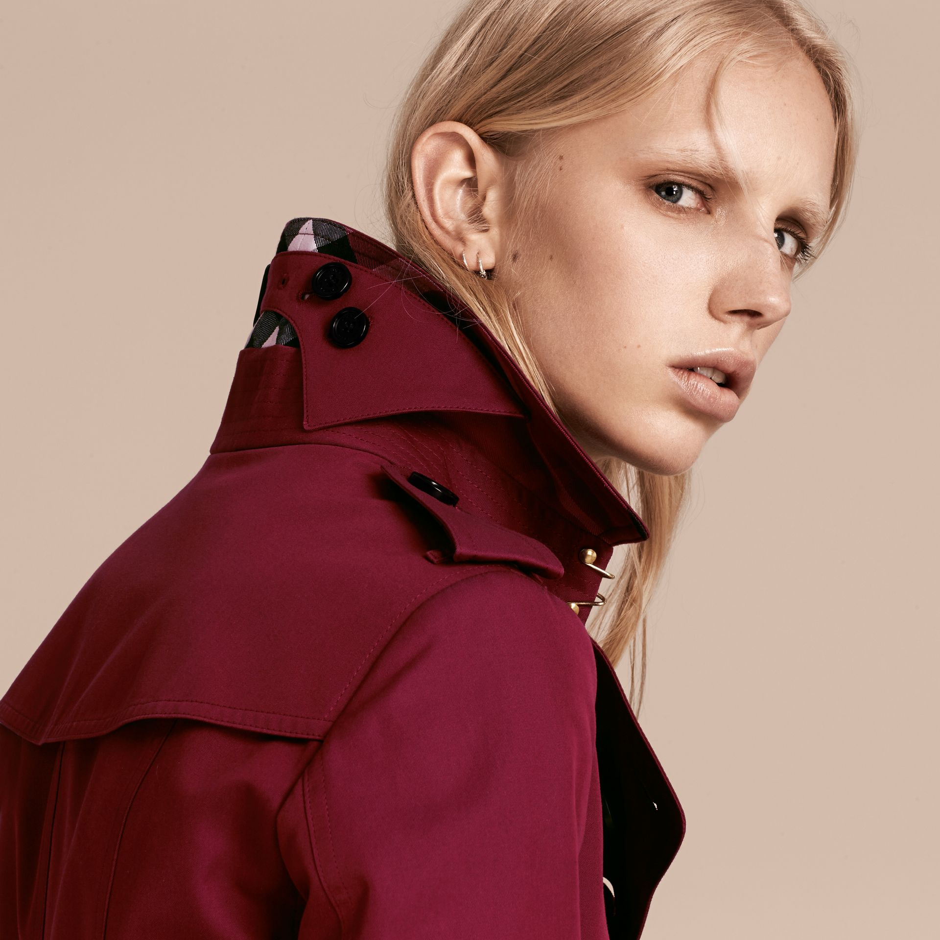 Cotton Gabardine Trench Coat in Damson Pink - gallery image 6