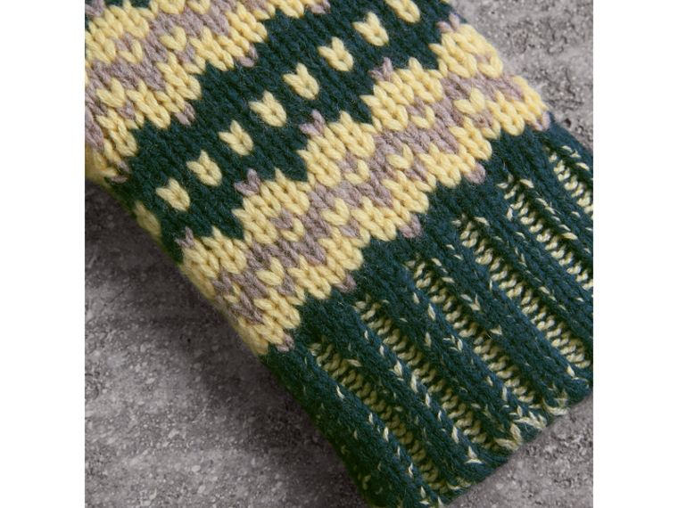 Fair Isle Wool-cashmere Blend Fingerless Gloves in Pine Green | Burberry - cell image 1