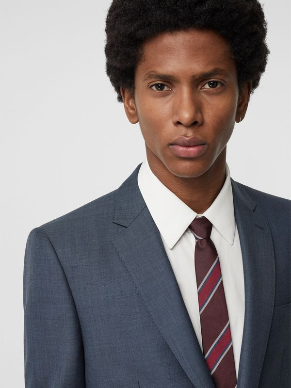Slim Cut Striped Silk Jacquard Tie in Oxblood - Men | Burberry United Kingdom - cell image 2