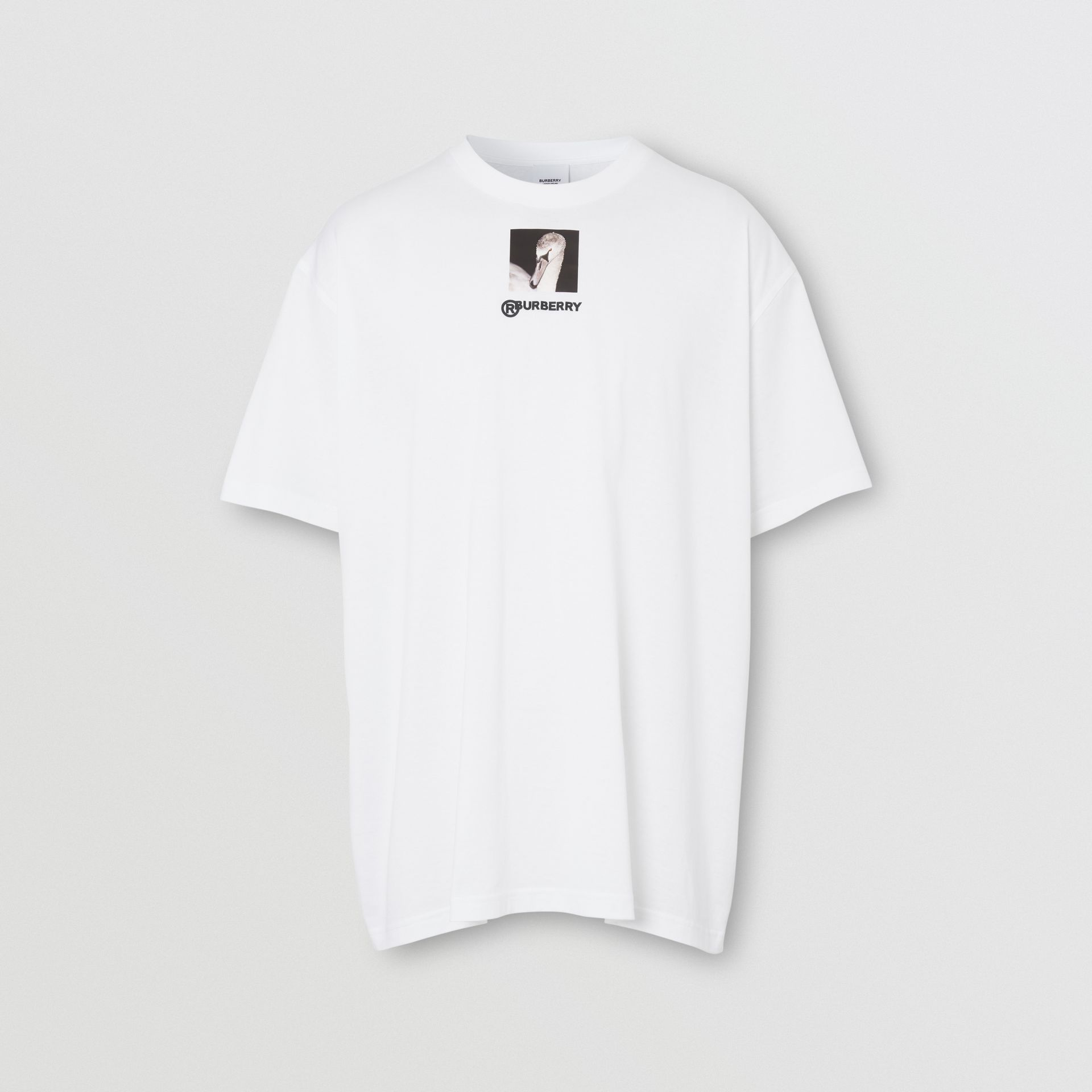 Swan and Logo Print Cotton Oversized T-shirt in Optic White | Burberry United Kingdom - gallery image 3