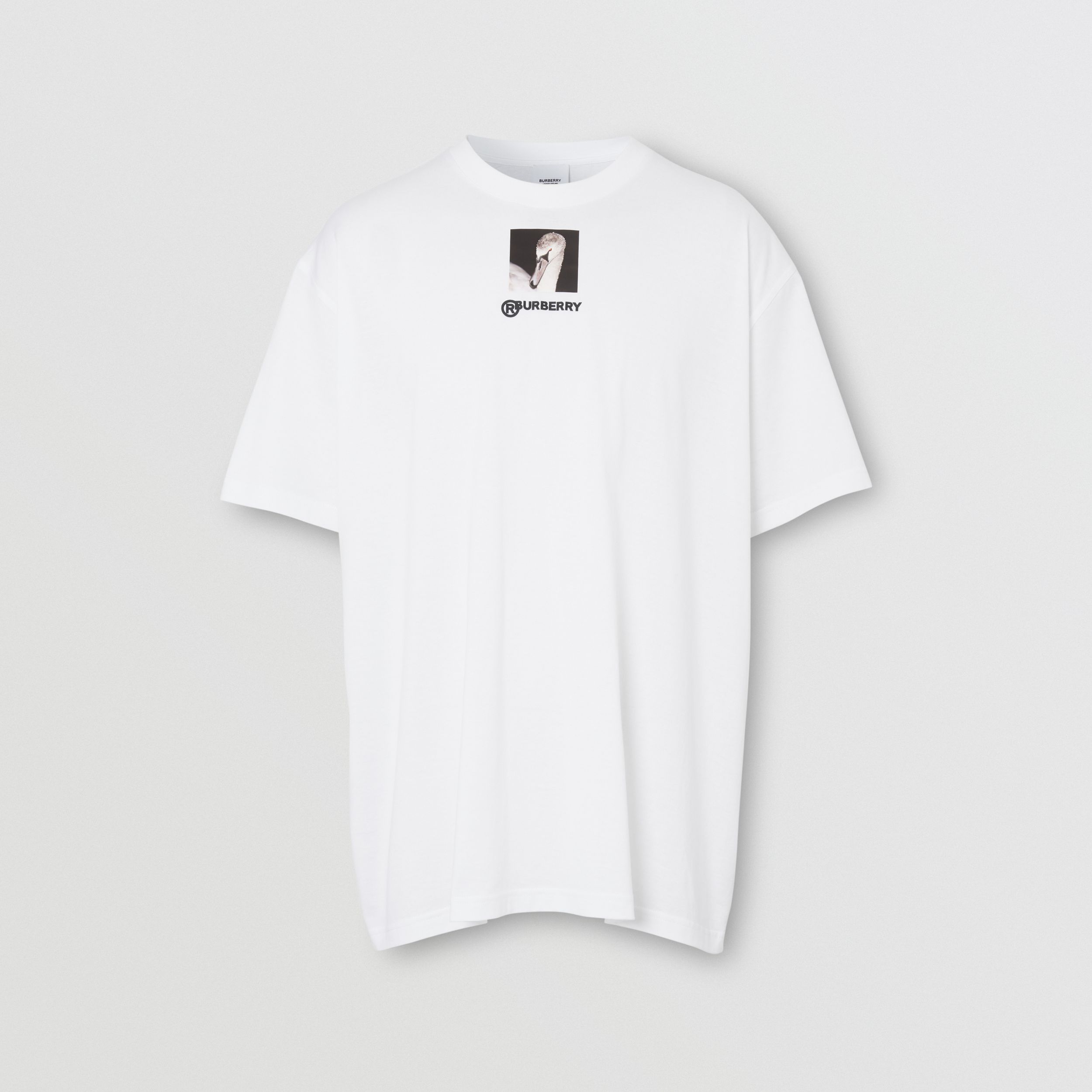 Swan and Logo Print Cotton Oversized T-shirt in Optic White - Men | Burberry - 4